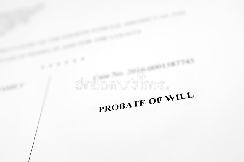 Probate of Will Legal Document. Court Document Probate of Will royalty free stock images