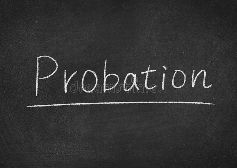 Probation. Concept word on a blackboard background royalty free stock photography