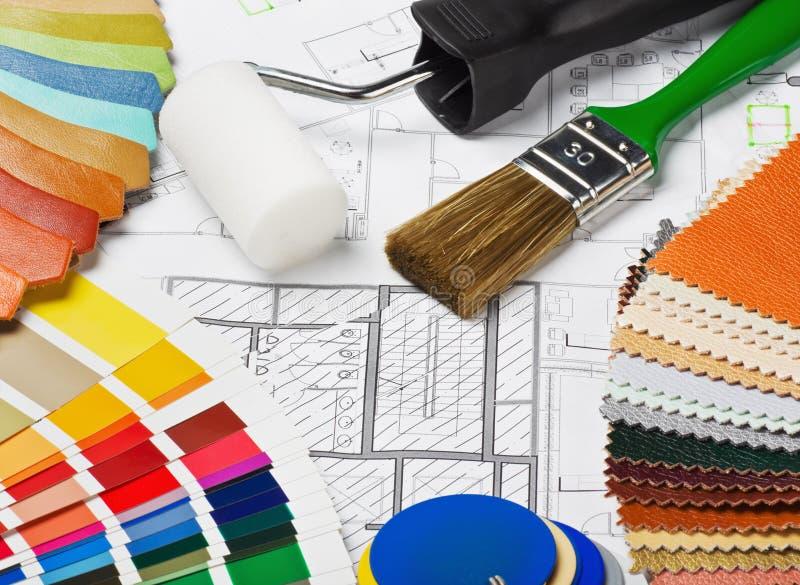 Proben der Materialfarben, -polsterung und -abdeckung stockbild