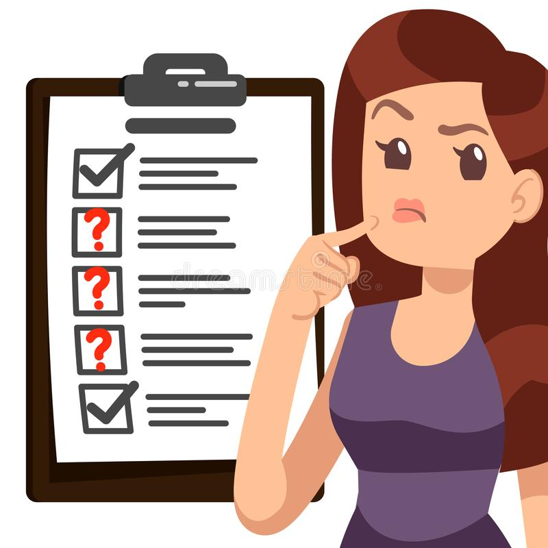Probiercza kobiety ilustracja Postać z kreskówki dziewczyny lista kontrolna ilustracja wektor