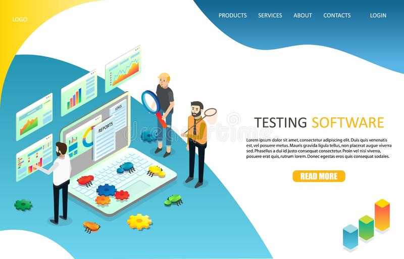 Probierczy oprogramowania lądowania strony strony internetowej wektoru szablon ilustracji