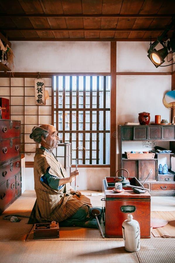 Probieren Sie Raum an Noboribetsu-Datum Jidaimura alter Edo Historic Villa lizenzfreie stockfotografie