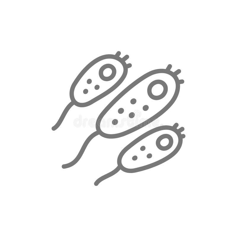 Probiotic, bactéries, ligne icône de germe illustration libre de droits