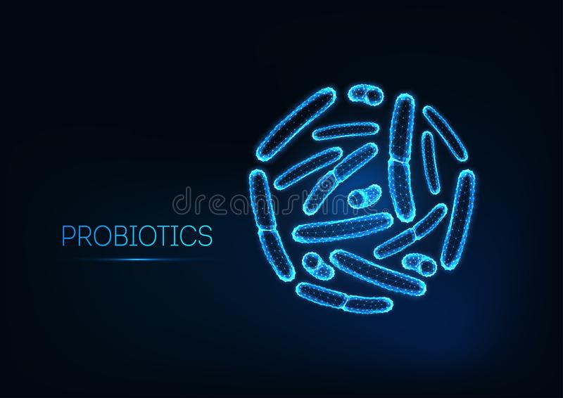 Probiotici sotto il microscopio Batteri gram-positivi, bacilli Flora normale dell'intestino, bifidobacterium illustrazione di stock
