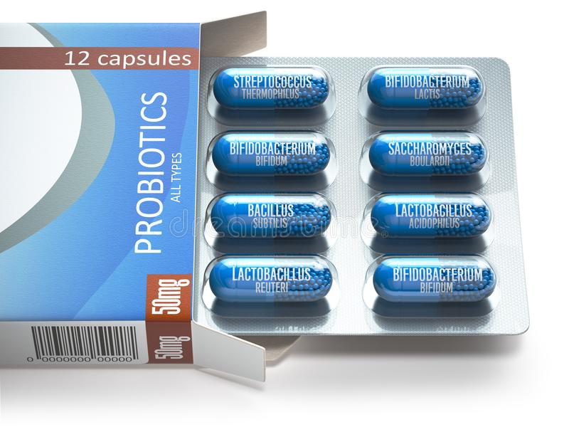 Probiotics Åstadkomma blåsor på asken med alla typer av probioticskapslar P vektor illustrationer
