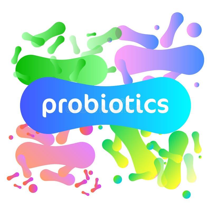 Probiotics-Bakterien-Vektor-Logo stock abbildung