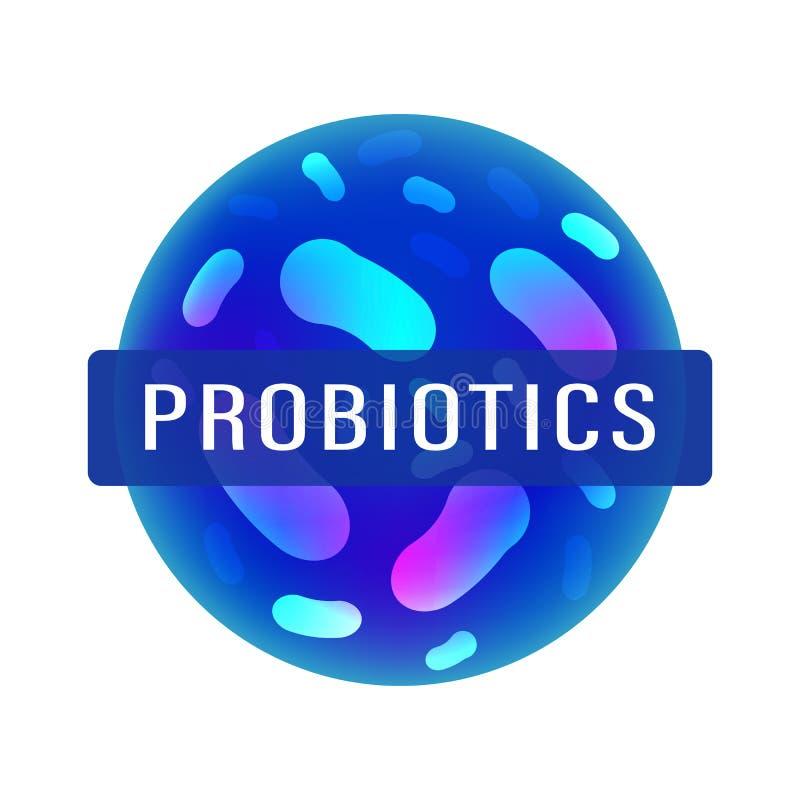 Probiotics-Bakterienlogo Immunit?ts-Anregungs-Medizinikone mit Milchs?urebazillus-Probiotic Bakterien Youn Paarflugwesen mit gefo stock abbildung