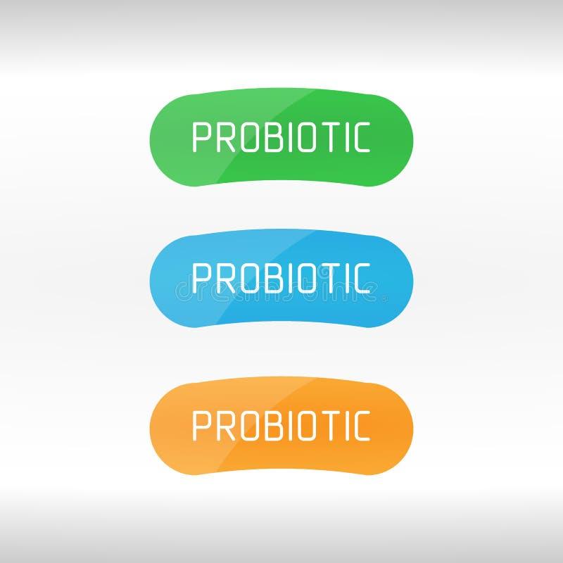 Probiotics bakterii wektoru logo Prebiotic, Lactobacillus ikony Wektorowy projekt Pojęcie logo lub wektoru symbol dla Dojnych pro ilustracji