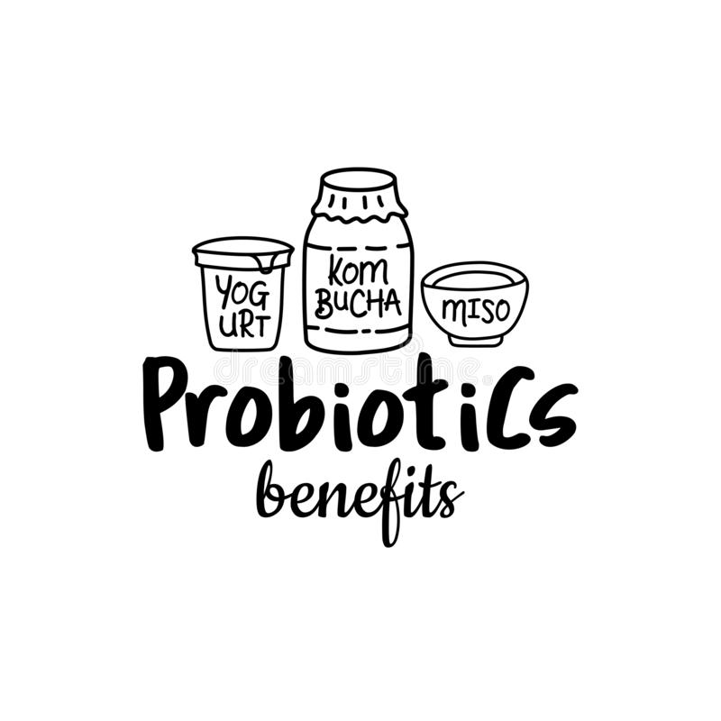Probiotics benefits Good bacteria food and medicine royalty free illustration