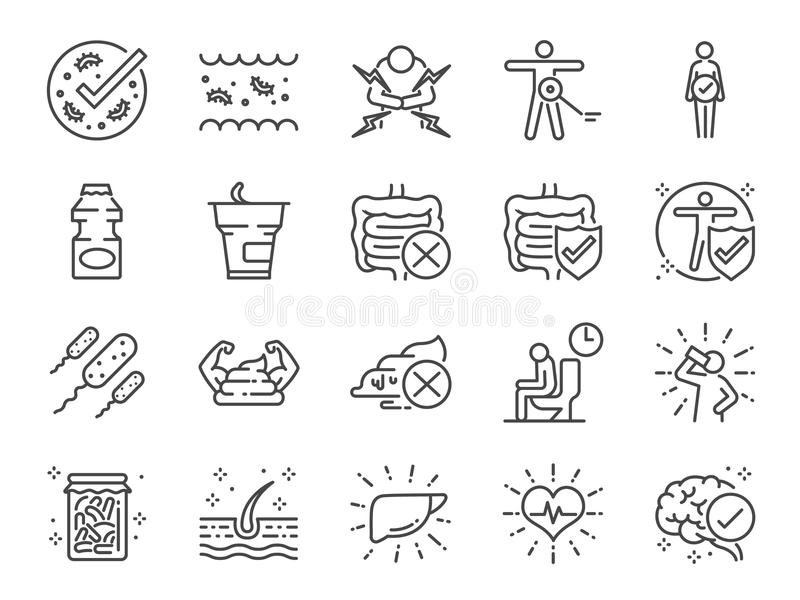 Probiotics icon set. Included icons as intestinal flora, intestinal, bacteria, healthy, yogurt, intestine and more. royalty free illustration