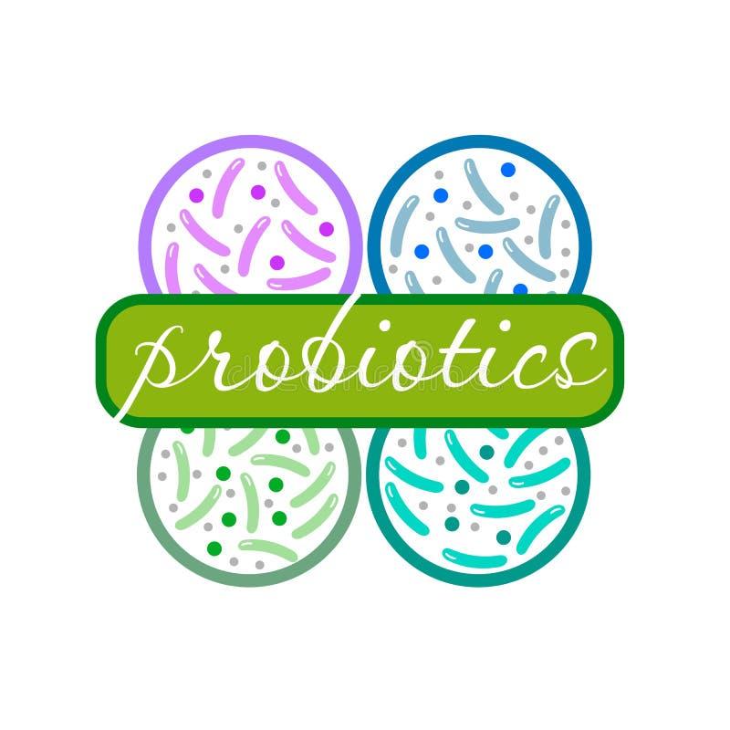 Probiotics logo Bakteria logo pojęcie zdrowy odżywianie składnik dla leczniczych purposes Prosty mieszkanie stylu trend nowożytny ilustracji