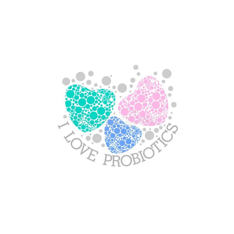 Probiotics logo Bakteria logo pojęcie zdrowy odżywianie składnik dla leczniczych purposes Prosty mieszkanie stylu trend nowożytny royalty ilustracja