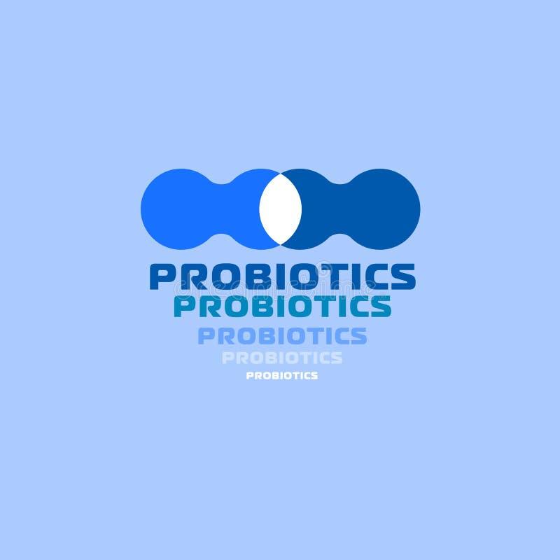 Probiotics logo Bakteria logo pojęcie zdrowy odżywianie składnik dla leczniczych purposes Prosty mieszkanie stylu trend nowożytny ilustracja wektor
