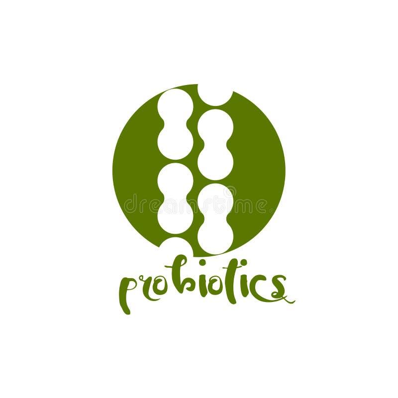 Probioticsembleem Bacteriënembleem concept gezond voedingsingrediënt voor therapeutische doeleinden Eenvoudige vlakke stijltenden vector illustratie