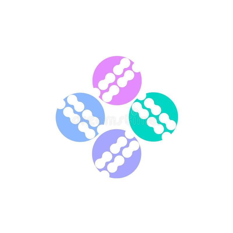 Probioticsembleem Bacteriënembleem concept gezond voedingsingrediënt voor therapeutische doeleinden Eenvoudige vlakke stijltenden royalty-vrije illustratie