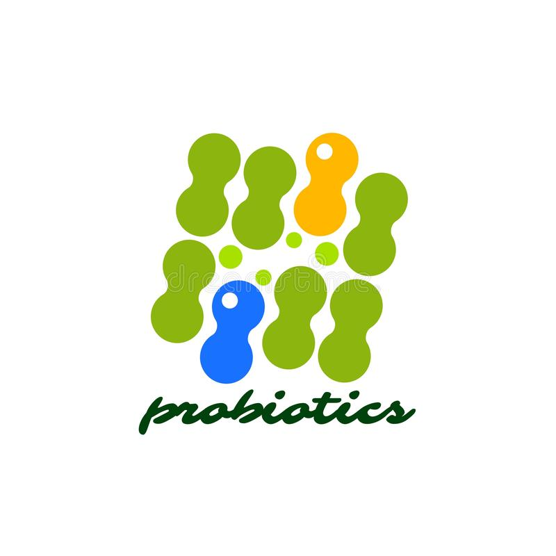 Probioticsembleem Bacteriënembleem concept gezond voedingsingrediënt voor therapeutische doeleinden Eenvoudige vlakke stijltenden stock illustratie