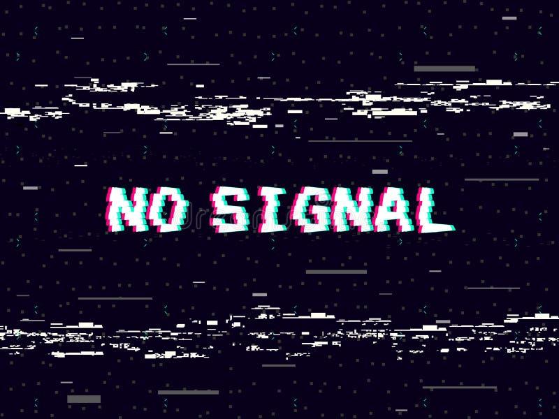Problème aucun signal sur le contexte noir Attachez du ruban adhésif aux déformations et aux lignes bruit Rétro fond de VHS Vieux illustration stock