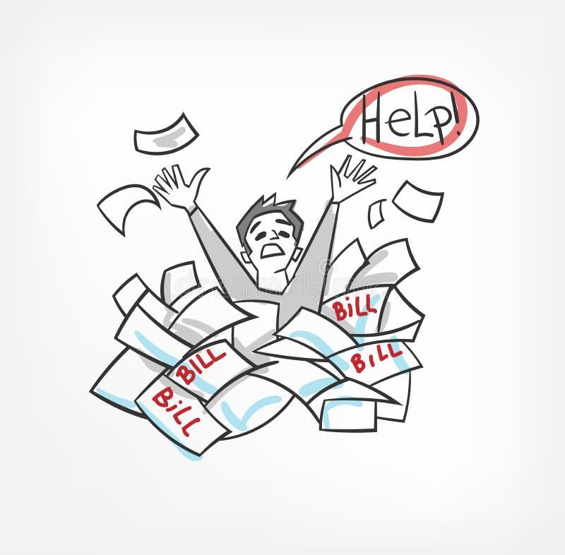 Problème avec l'illustration de vecteur de concept de factures hurlant pour l'homme d'aide illustration de vecteur