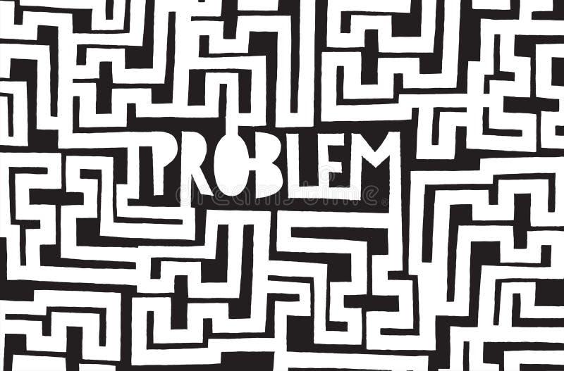 Problème caché dans le labyrinthe complexe sans fin illustration libre de droits