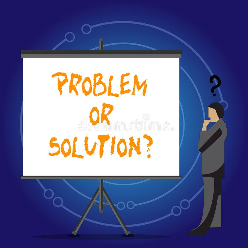 Problème conceptuel ou Solutionquestion d'apparence d'écriture de main La présentation de photo d'affaires pensent résolvent la s illustration stock