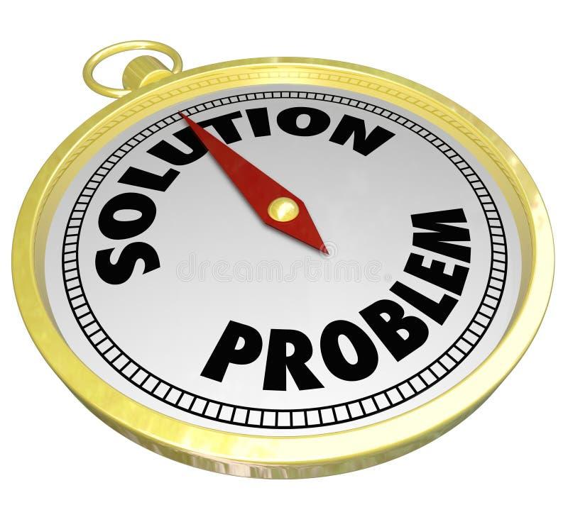 Problème contre la boussole d'or de solution menant pour répondre au défi illustration de vecteur