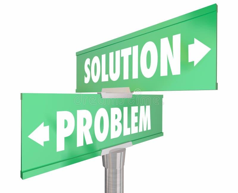 Problème contre la solution deux 2 panneaux routiers de rue de manière illustration de vecteur