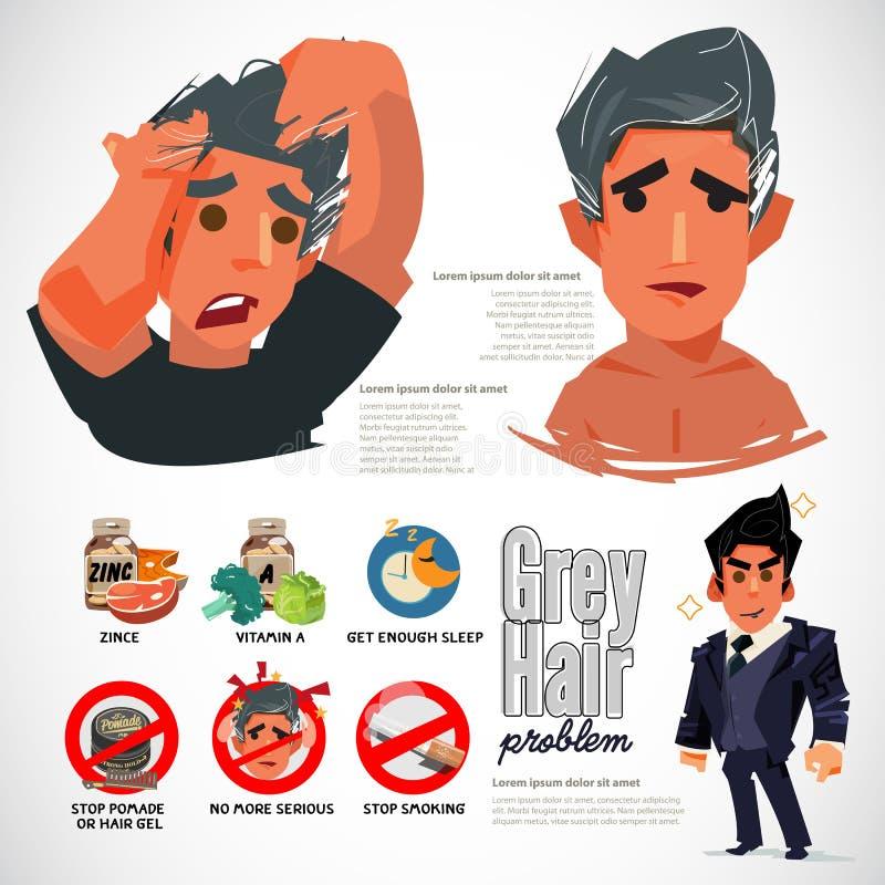 Problème de cheveux de gris cause et manière de l'empêcher - vecteur illustration de vecteur