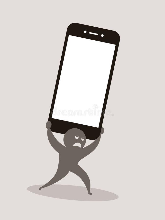 Problème et problème avec le smartphone illustration stock