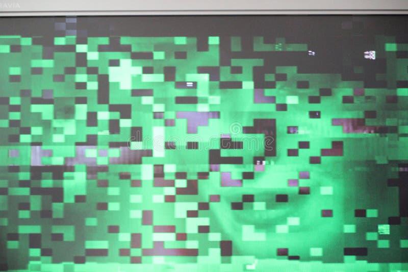 Problème numérique d'essai de pixilation de pixel d'écran d'erreurs de problème donner à la vague une consistance rugueuse de syn photographie stock libre de droits
