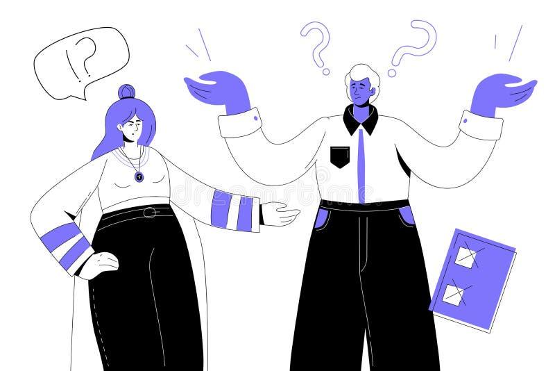 Problèmes au travail - illustration plate colorée moderne de style de conception illustration libre de droits