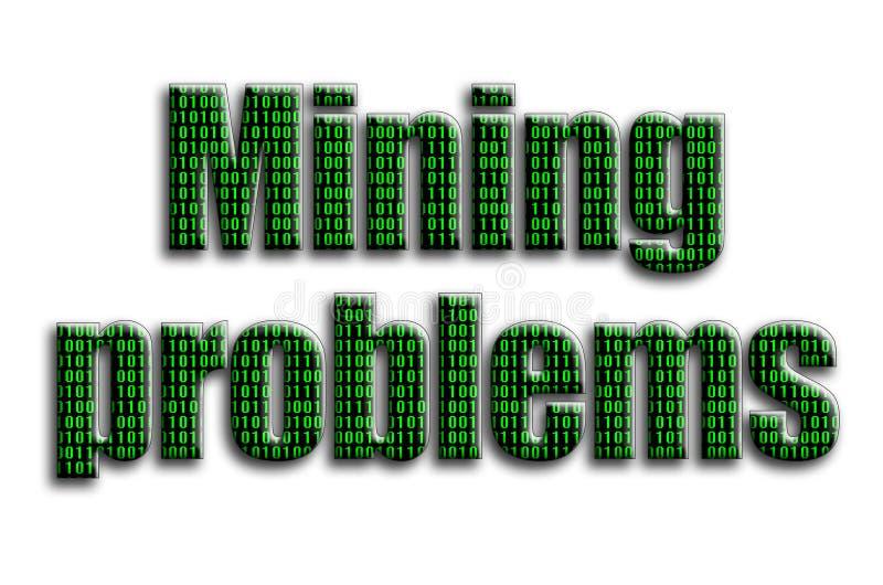 Problèmes d'exploitation L'inscription a une texture de la photographie, qui dépeint le code binaire vert illustration stock