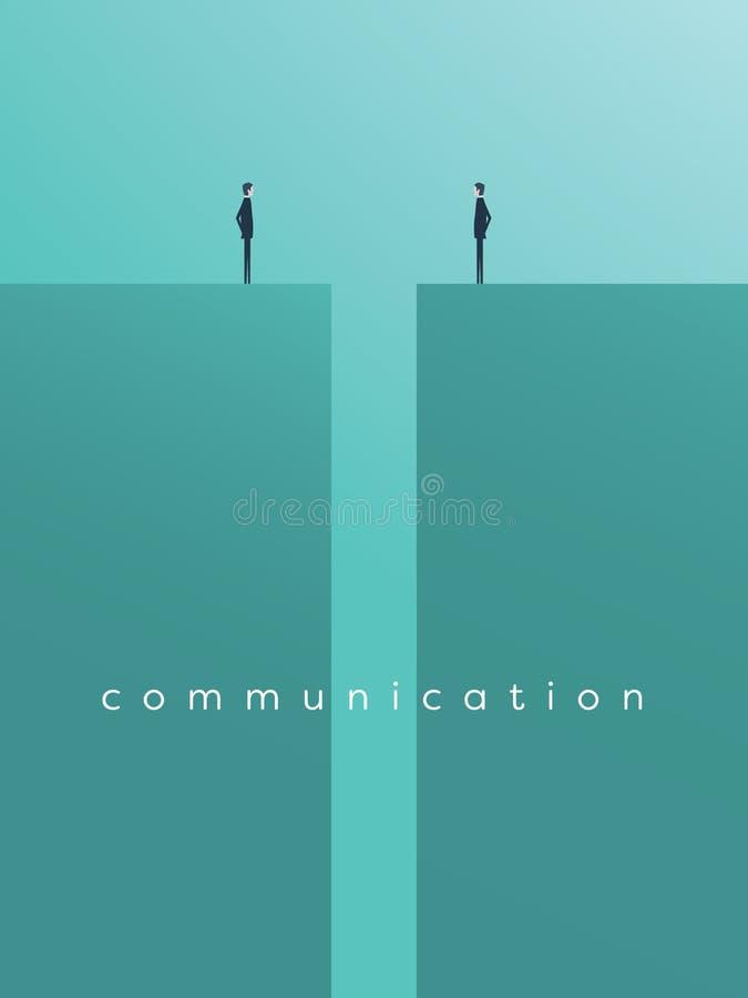 Problèmes de communication ou de négociation d'affaires, questions Deux icônes d'hommes d'affaires avec l'espace entre eux illustration de vecteur