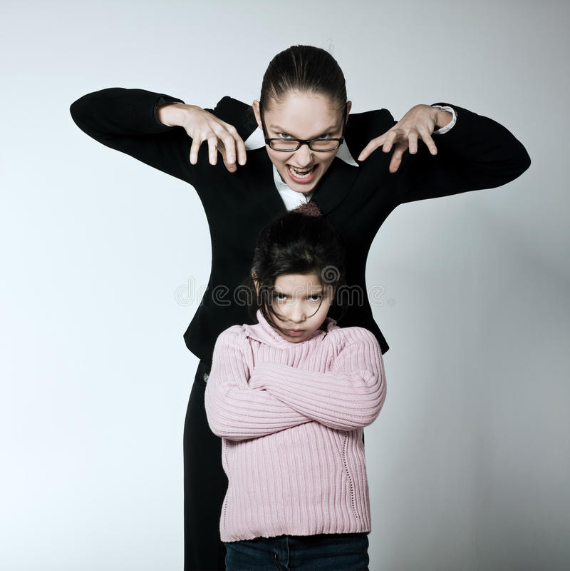 Problèmes de conflit de conflit d'enfant de femme image libre de droits