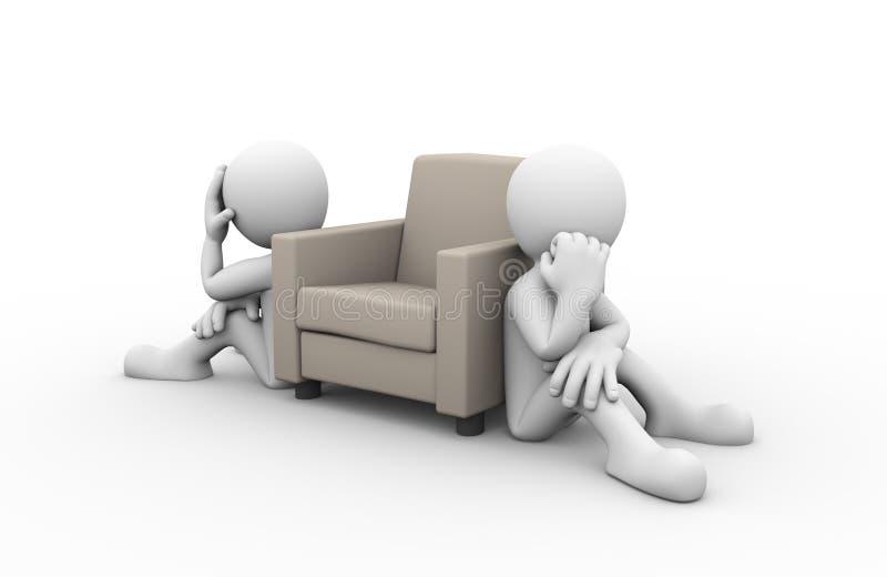problèmes de conflit de famille 3d illustration libre de droits