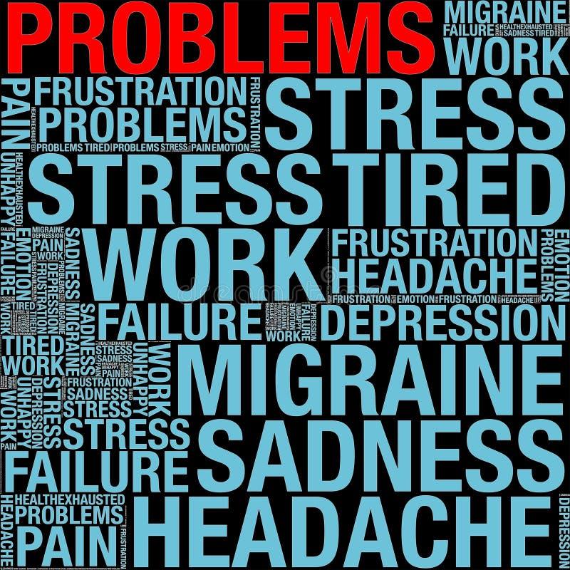 Problèmes en collage de mot illustration de vecteur
