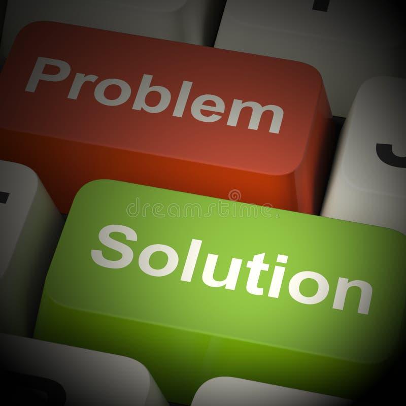 Probleem en Oplossingscomputersleutels het 3d Teruggeven vector illustratie