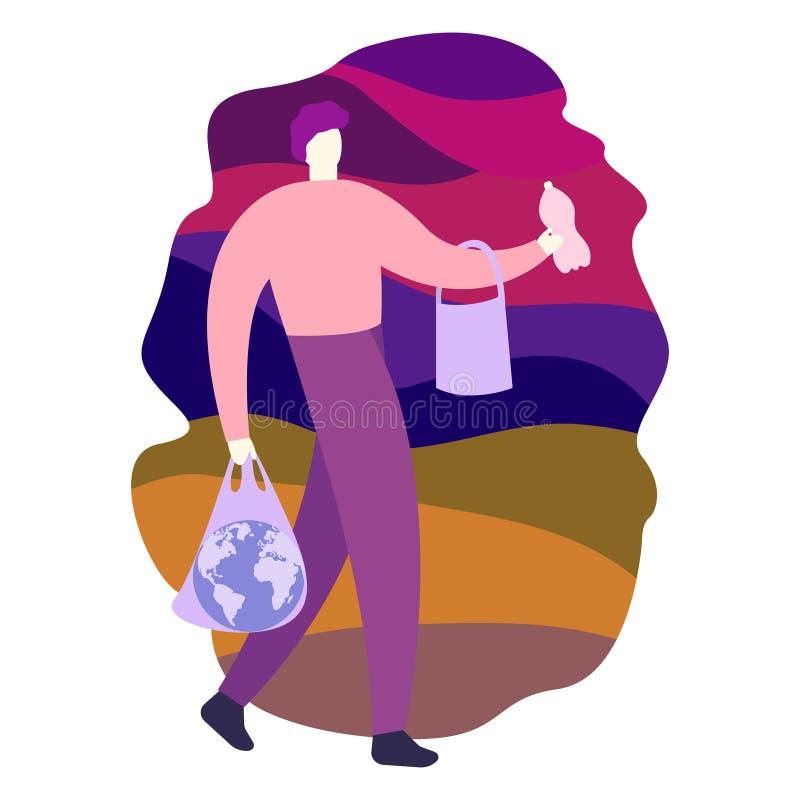 Probleem van stortplaats ecologische crisisfoto De bol van de mensenholding in plastic zak op de achtergrond van afval royalty-vrije illustratie