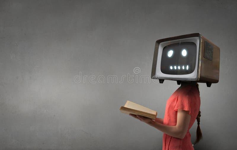 Probleem van televisieverslaving Gemengde media Gemengde media royalty-vrije stock foto's