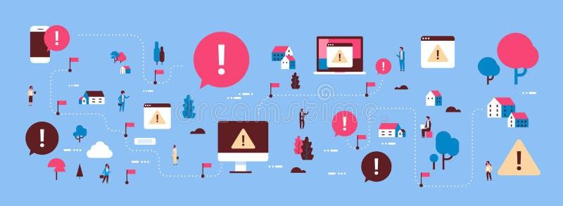 Problem łamająca mobilnego komputeru przyrządu wirusa ataka mapy isometric uwagi pojęcia okrzyka oceny ostrzegawcza ikona royalty ilustracja