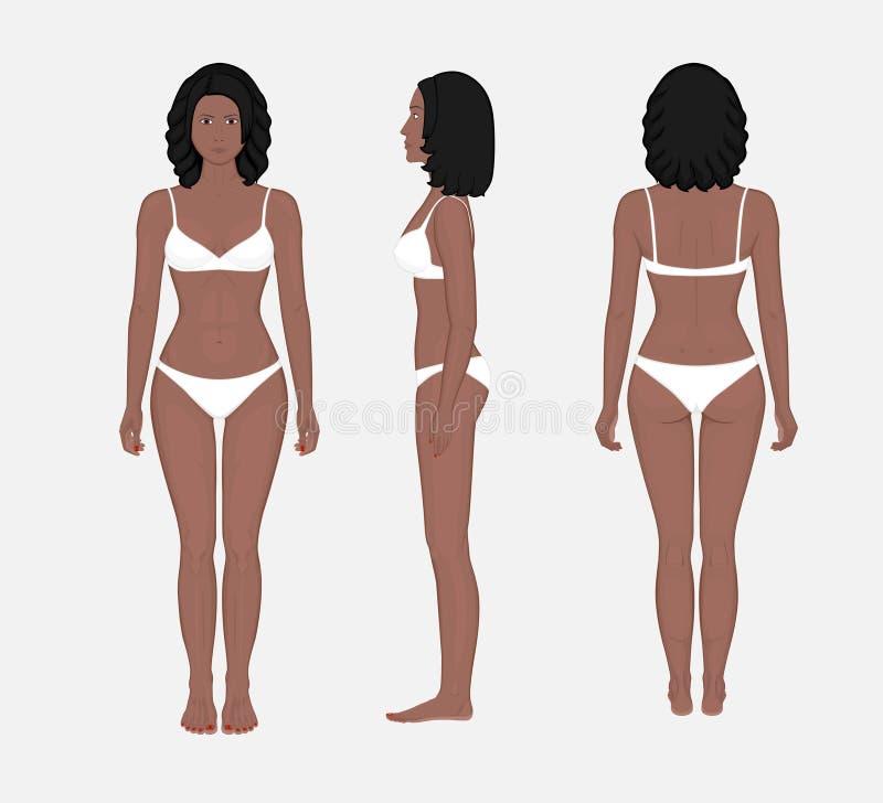 Problem_African αμερικανικοί μπροστινοί πίσω και πλευρά VI γυναικών ανθρώπινου σώματος διανυσματική απεικόνιση