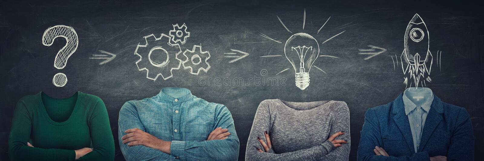 Problem analysis solution and project concept as surreal anonymous group of people with symbols instead head. Team thinking and. Cooperation process. Get answer royalty free stock images