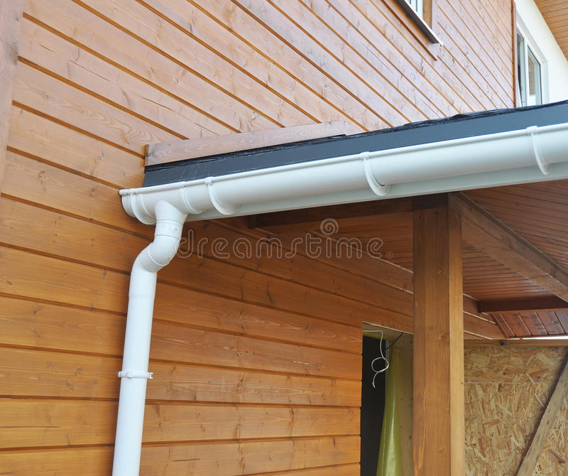 Problem Areas for Rain Gutter Waterproofing. Guttering, Gutters, Plastic Guttering, Guttering & Drainage. Guttering. Downpipe Fittings stock images