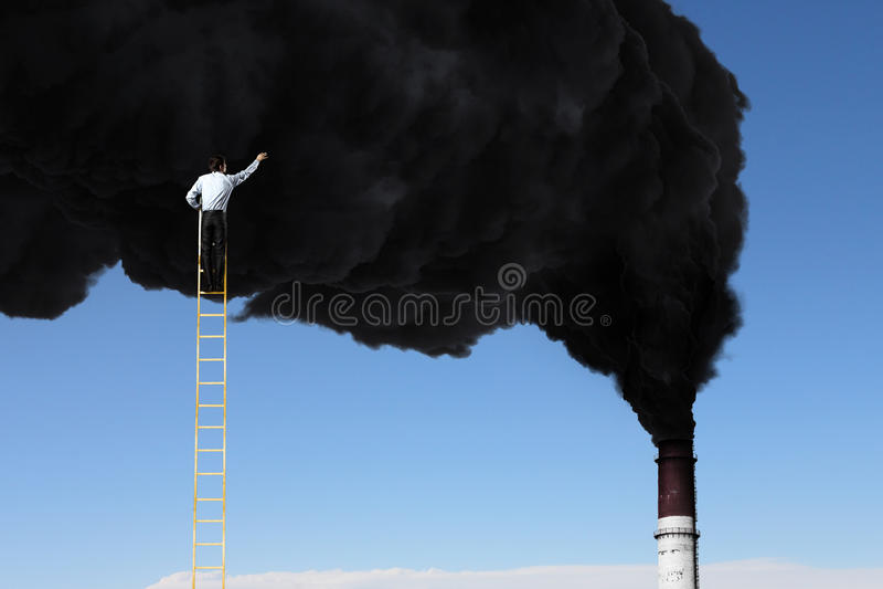 Problem av luftförorening Blandat massmedia royaltyfri bild