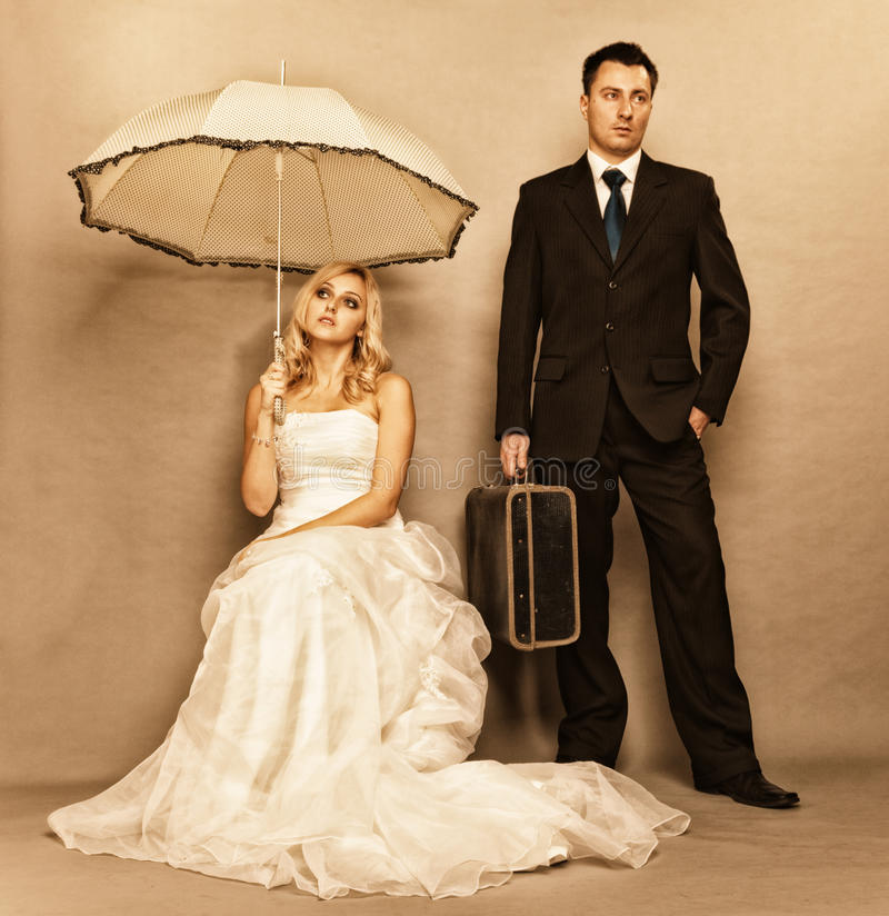 Problem des verheirateten Paars, Gleichgültigkeitskrisenzwietracht stockfotografie