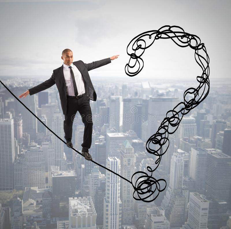 Problem and difficulty concept. With businessman on the rope stock photos
