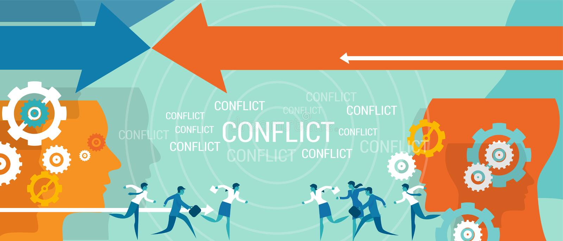Problem för konfliktledningaffär stock illustrationer