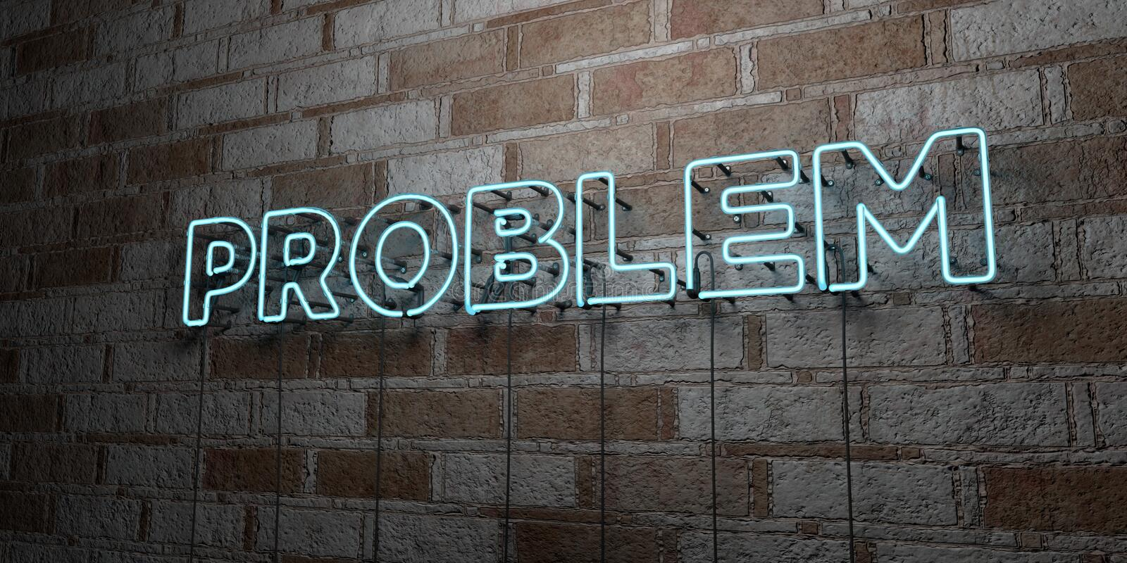 PROBLEM - Glowing Neon Sign on stonework wall - 3D rendered royalty free stock illustration. Can be used for online banner ads and direct mailers royalty free illustration