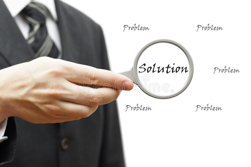 Problem i rozwiązanie - Biznesowy pojęcie z biznesmenem i mag obraz stock