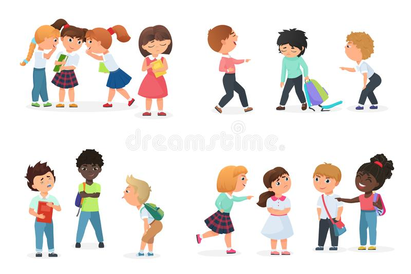 Problem of kids bullying at school. Multiracial boys and girls humiliate, offend, tease, gossip, force, threat stock illustration