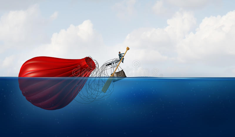 Problem Manager. As a businessman in the water with a sunk hot air balloon paddling the failed vehicle towards a new destination as a business metaphor for vector illustration